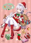 1girl absurdres animal_ears artist_name ass bangs blush bow breasts cat_ears cat_tail christmas commentary dated eyebrows_visible_through_hair gift gloves green_bow grey_hair hat highres himecoe holding holding_sack large_breasts looking_at_viewer merry_christmas original red_footwear reindeer sack santa_dress santa_hat tail thigh-highs white_gloves white_hair white_legwear yellow_eyes