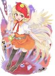 1girl :d ambiguous_red_liquid animal animal_on_head bangs belt bird black_legwear blonde_hair brown_belt brown_footwear chain chick commentary_request eyebrows_visible_through_hair feathered_wings hand_up loafers looking_at_viewer miniskirt multicolored_hair niwatari_kutaka on_head open_mouth orange_skirt puffy_short_sleeves puffy_sleeves puuakachan red_eyes redhead shirt shoes short_hair short_sleeves skirt skull smile solo tail_feathers thigh-highs touhou translation_request two-tone_hair white_shirt wings yellow_wings zettai_ryouiki