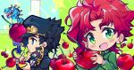 2boys chain cherry chibi dinosaur earrings eating food fruit gakuran green_eyes hat jewelry jojo_no_kimyou_na_bouken kakyouin_noriaki kuujou_joutarou long_coat multiple_boys redhead scary_monsters_(stand) school_uniform sebychu stand_(jojo) stardust_crusaders steel_ball_run