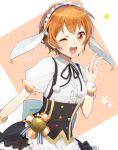 1girl :d animal_ears antenna_hair apron bang_dream! center_frills character_name collarbone collared_shirt corset cosplay earrings gochuumon_wa_usagi_desu_ka? harusawa jewelry kirima_sharo kirima_sharo_(cosplay) kitazawa_hagumi looking_at_viewer maid maid_headdress one_eye_closed open_mouth orange_background orange_eyes orange_hair pom_pom_(clothes) rabbit_ears shirt short_hair short_sleeves simple_background smile solo star suspenders v waist_apron waitress wrist_cuffs