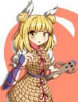 1girl 495-flan :o armor armored_dress bangs blonde_hair blush commentary_request cowboy_shot double_bun drop_shadow eyebrows_visible_through_hair hair_between_eyes haniwa_(statue) highres joutouguu_mayumi looking_at_viewer puffy_short_sleeves puffy_sleeves red_background shirt short_hair short_sleeves solo standing touhou two-tone_background vambraces white_background white_shirt yellow_eyes