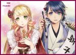 1boy 1girl alfonse_(fire_emblem) blonde_hair blue_eyes blue_hair braid brother_and_sister closed_mouth crown_braid fire_emblem fire_emblem_heroes floral_print gradient_hair green_eyes hair_ornament holding holding_paintbrush japanese_clothes kimono long_hair long_sleeves multicolored_hair open_mouth paintbrush pink_hair sharena short_hair siblings smile twitter_username upper_body youhe_qri