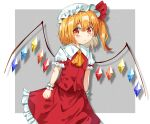 1girl arms_at_sides blonde_hair blush commentary cowboy_shot drop_shadow eyebrows_visible_through_hair flandre_scarlet frilled_skirt frills grey_background hair_between_eyes hat hat_ribbon highres kiui_(dagk8254) looking_at_viewer mob_cap puffy_short_sleeves puffy_sleeves red_eyes red_skirt red_vest ribbon shirt short_hair short_sleeves side_ponytail simple_background skirt skirt_set smile standing touhou vest white_shirt wings wrist_cuffs