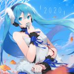 1girl 2020 bangs bare_shoulders blue_eyes blue_hair blue_nails blue_sky blurry blurry_background blurry_foreground breasts commentary depth_of_field english_commentary fhang hair_between_eyes hairband hatsune_miku highres holding holding_microphone long_hair microphone nail_polish shirt sky small_breasts solo strapless striped striped_hairband twintails very_long_hair vocaloid white_shirt wrist_cuffs