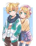 1boy 1girl :3 aqua_eyes bangs beret black_pants blonde_hair blue_legwear blue_scarf blush bow casual closed_mouth commentary cowboy_shot hair_bow hair_ornament hairclip hand_on_another's_back hands_in_pockets hat heart heart_necklace jacket jewelry kagamine_len kagamine_rin knit_sweater leaning_forward looking_at_viewer momomochi necklace pants pink_headwear scarf shirt short_hair short_ponytail skirt smile standing swept_bangs t-shirt thigh-highs turtleneck twitter_username two-tone_jacket vocaloid white_bow zettai_ryouiki zipper