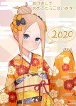 1girl 2020 abigail_williams_(fate/grand_order) bangs black_bow blonde_hair blue_eyes blush bow closed_mouth fate/grand_order fate_(series) forehead hair_bow hair_bun highres japanese_clothes kimono kopaka_(karda_nui) long_hair long_sleeves looking_at_viewer obi orange_bow orange_kimono parted_bangs polka_dot polka_dot_bow sash sidelocks smile solo translation_request very_long_hair wide_sleeves