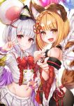 2girls :d absurdres animal_ear_fluff animal_ears balloon bangs bare_shoulders black_legwear blonde_hair blush bow braid collared_shirt detached_sleeves dog_ears erune eyebrows_visible_through_hair fake_animal_ears fang granblue_fantasy hair_bow hair_ornament hairclip heart highres hyouta_(yoneya) lips long_sleeves looking_at_viewer midriff mouse_ears multiple_girls navel new_year open_mouth pantyhose pleated_skirt red_eyes rope shimenawa shirt short_hair silver_hair simple_background skirt smile tail upper_body v vajra_(granblue_fantasy) vikala_(granblue_fantasy) white_background white_shirt white_skirt wide_sleeves