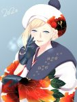 1girl beret blonde_hair blue_background blue_eyes blue_gloves dated gloves hair_between_eyes hat highres japanese_clothes kantai_collection kimono long_hair mole mole_under_eye mole_under_mouth new_year pink_lips pom_pom_(clothes) richelieu_(kantai_collection) shingyo upper_body