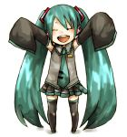 buzz chibi closed_eyes detached_sleeves happy hatsune_miku long_hair necktie oversized_clothes thigh-highs thighhighs twintails vocaloid young