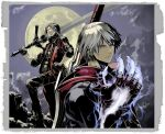 dante devil_bringer devil_may_cry grey_hair male male_only moon nakaba_reimei nero_(devil_may_cry) rebellion_(sword) red_queen_(sword) silver_hair sword weapon
