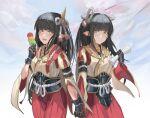 black_hair blush cyc_(pixiv4845969) hinoa holding_hands japanese_clothes kimono long_hair minoto monster_hunter monster_hunter_(series) monster_hunter_rise pointy_ears siblings twins
