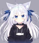 1girl absurdres animal_ear_fluff animal_ears animal_print arms_behind_back black_hoodie blue_eyes cat_ears closed_mouth drawstring expressionless fish_print hair_ornament hairclip highres hood hood_down hoodie long_hair long_sleeves original pet_collar satou_(3366_s) two_side_up upper_body