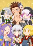 1boy 5girls beard blonde_hair blue_eyes blush brown_hair chest epaulettes facial_hair fate/grand_order fate_(series) ibaraki_douji_(fate/grand_order) jack_the_ripper_(fate/apocrypha) jeanne_d'arc_(fate)_(all) jeanne_d'arc_alter_santa_lily long_sleeves looking_at_viewer multiple_girls napoleon_bonaparte_(fate/grand_order) nursery_rhyme_(fate/extra) pants paul_bunyan_(fate/grand_order) pectorals purple_hair scar shitappa simple_background smile violet_eyes white_hair wu_zetian_(fate/grand_order)