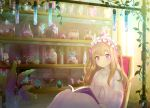 1girl bandages blonde_hair book chair highres indoors lens_flare long_hair long_sleeves maid_headdress mugu1 open_book original pink_eyes pink_pajamas plant potted_plant shelf sitting sparkle two_side_up vial vines