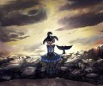1girl backlighting bauncer black_hair closed_mouth clouds collarbone commentary_request covered_eyes dolphin_tail dorsal_fin dress facing_viewer frilled_dress frills full_body grey_hair hair_over_eyes head_fins head_tilt highres kemono_friends knees_together_feet_apart long_sleeves medium_dress multicolored_hair orca_(kemono_friends) outdoors pantyhose purple_hair sitting sky smile solo tail twilight v_arms