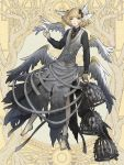 androgynous barefoot blonde_hair cage chain cross cross_necklace dairoku_youhei feathered_wings full_body hair_wings holding_feather jewelry long_sleeves looking_at_viewer mugu1 necklace official_art ring simple_background skull standing vest white_feathers white_wings wings