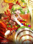 1girl :d artist_name bow braid breasts christmas company_name copyright_name drill elbow_gloves furyou_michi_~gang_road~ gloves gold_trim green_eyes green_hair hair_bow highres indoors long_hair low-tied_long_hair midriff neck_bell official_art open_mouth red_bow red_carpet red_skirt skirt skull_print small_breasts smile sparks stairs standing standing_on_one_leg tajima_yukie tattoo thigh-highs twisted_torso watermark white_gloves white_legwear