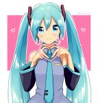 1girl :3 bare_shoulders blue_eyes blue_hair blue_nails blue_neckwear blush breasts closed_mouth collared_shirt detached_sleeves dot_nose eyebrows_visible_through_hair eyelashes eyes_visible_through_hair fingernails grey_shirt hair_between_eyes hatsune_miku heart heart_background heart_hands long_hair necktie nokuhashi own_hands_together pink_background polka_dot polka_dot_background shiny shiny_hair shirt sidelocks simple_background sleeveless sleeveless_shirt small_breasts solo straight_hair twintails twitter_username very_long_hair vocaloid white_background