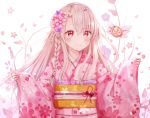 1girl bangs blush braid brown_hair closed_mouth commentary_request eyebrows_visible_through_hair fate/kaleid_liner_prisma_illya fate_(series) floral_background floral_print flower hair_between_eyes hair_flower hair_ornament illyasviel_von_einzbern japanese_clothes kimono long_hair long_sleeves nasii obi parted_bangs pink_flower pink_kimono print_kimono purple_flower red_eyes sash sleeves_past_wrists smile solo upper_body white_background wide_sleeves