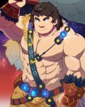 1boy abs bara belt brown_hair chest fate/grand_order fate_(series) gloves looking_at_viewer male_focus muscle navel nipples orion_(super_archer)_(fate) pants pectorals simple_background solo thick_eyebrows upper_body weapon yakiniku0141