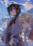 2girls ahoge alternate_costume bangs blonde_hair blue_eyes blush braid breath brown_hair clouds floral_print hair_flaps hair_ornament hair_ribbon hairclip highres japanese_clothes kantai_collection kimono long_hair long_sleeves multiple_girls obi open_mouth outdoors red_eyes remodel_(kantai_collection) ribbon sash scarf shigure_(kantai_collection) single_braid sky smile sugue_tettou twitter_username white_scarf wide_sleeves yuudachi_(kantai_collection)