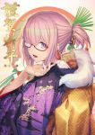 1girl 2020 alternate_costume bangs blush commentary_request eyebrows_visible_through_hair fate/grand_order fate_(series) fou_(fate/grand_order) glasses hair_ornament hair_over_one_eye japanese_clothes kimono looking_at_viewer mash_kyrielight open_mouth ponytail purple_kimono short_hair smile solo tef translation_request violet_eyes
