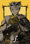 1boy animal artist_request bird black_gloves bokuto_koutarou collar feathered_wings flower gloves haikyuu!! holding holding_flower looking_at_viewer male_focus multicolored_hair owl parted_lips short_hair single_wing smile solo spiky_hair spot_color star tassel two-tone_hair upper_body wings yellow_eyes yellow_flower
