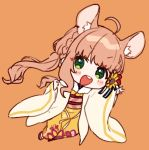 1girl :d ahoge animal_ear_fluff animal_ears bangs blush_stickers braid brown_background brown_hair chibi chinese_zodiac commentary eyebrows_visible_through_hair floral_print flower full_body green_eyes hair_flower hair_ornament honma_himawari japanese_clothes kimono long_hair long_sleeves mouse_ears nijisanji obi open_clothes open_mouth print_kimono red_flower sash simple_background sleeves_past_wrists smile solo sunflower_hair_ornament upper_teeth v v-shaped_eyebrows very_long_hair virtual_youtuber wide_sleeves yamabukiiro year_of_the_rat yellow_flower yellow_kimono