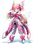 1girl boots bow chiyoda_momo gloves hair_ornament hairclip highres machikado_mazoku magical_girl mecha pink_hair power_armor power_suit ribbon science_fiction shiny shiny_hair short_hair skirt tei-o weapon white_gloves wings