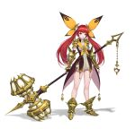 1girl armor bangs black_gloves bow breasts cheolseung_ok dress elbow_gloves fingerless_gloves full_body gloves gold_footwear green_eyes hair_ornament highres holding holding_hammer long_hair looking_at_viewer original redhead simple_background solo standing twintails white_background yellow_bow