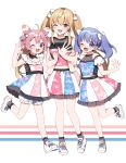 3girls ;d ahoge bangs bare_arms bare_shoulders blue_eyes blue_hair blue_shirt blush bow brown_eyes brown_legwear crop_top detached_sleeves eyebrows_visible_through_hair frilled_skirt frills hair_between_eyes hair_bow ienaga_mugi light_brown_hair long_hair multicolored multicolored_clothes multicolored_skirt multiple_girls nijisanji one_eye_closed open_mouth pink_shirt puffy_short_sleeves puffy_sleeves shirt shoes short_sleeves sidelocks skirt sleeveless sleeveless_shirt smile socks standing standing_on_one_leg twintails two_side_up ushimi_ichigo very_long_hair violet_eyes virtual_youtuber white_bow white_footwear white_sleeves yamabukiiro yuuki_chihiro