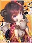1girl 2020 :3 animal animal_ears bangs blush blush_stickers brown_hair chinese_zodiac closed_mouth commentary_request covered_mouth eyebrows_visible_through_hair floral_background grey_eyes hair_between_eyes hands_up heart highres holding holding_animal japanese_clothes kimono long_sleeves looking_at_viewer mouse mouse_ears orange_background original red_kimono see-through single_hair_intake solo tonchan violet_eyes wide_sleeves year_of_the_rat