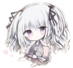 1girl :< bangs barefoot black_jacket black_ribbon brown_skirt chibi closed_mouth commentary_request cottontailtokki eyebrows_visible_through_hair frilled_pillow frills full_body granblue_fantasy hair_between_eyes hair_ribbon heart jacket long_hair long_sleeves open_clothes open_jacket orchis pillow pleated_skirt ribbon silver_hair simple_background sitting skirt sleeves_past_fingers sleeves_past_wrists solo two_side_up violet_eyes white_background