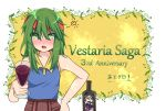 ! 1girl anniversary b_b_suke blush bottle copyright_name cup drinking_glass green_eyes green_hair headband leaf long_hair open_mouth sheela_(vestaria_saga) solo sparkle vestaria_saga white_background wine_bottle wine_glass