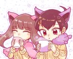 ^_^ animal_ears black_hair blush brown_eyes brown_hair cat_ears closed_eyes cosplay cup delcatty delcatty_(cosplay) drinking gen_3_pokemon hibikileon holding holding_cup long_sleeves looking_at_viewer mug odamaki_sapphire pokemon pokemon_ears pokemon_special scar skitty skitty_(cosplay) star starry_background steam sweater upper_body white_background yuuki_(pokemon)