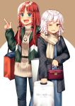 2girls :d alternate_costume bag bangs belt black_belt black_bow black_coat blue_dress blue_eyes blush bow brown_background casual coat commentary_request contemporary cowboy_shot denim dress eyebrows_visible_through_hair green_jacket grey_scarf hair_bow handbag highres hong_meiling index_finger_raised izayoi_sakuya jacket jeans jewelry long_hair long_sleeves looking_at_viewer maitacoco multiple_girls no_hat no_headwear one_eye_closed open_clothes open_coat open_jacket open_mouth pants pendant red_eyes redhead scarf shopping_bag short_hair silver_hair smile sparkle standing sweater touhou turtleneck turtleneck_sweater two-tone_background white_background white_sweater