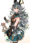 1girl animal_ears atory_totory bare_shoulders blue_dress blue_hair breasts brown_eyes brown_gloves dress earrings ferry_(granblue_fantasy) frilled_dress frilled_gloves frills gem gloves granblue_fantasy highres jewelry long_hair sideboob smile solo sword weapon
