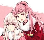 2girls alternate_costume closed_mouth earrings fire_emblem fire_emblem:_three_houses hilda_valentine_goneril japanese_clothes jewelry kimono long_hair long_sleeves lysithea_von_ordelia multiple_girls naho_(pi988y) open_mouth pink_eyes pink_hair ponytail simple_background smile twitter_username upper_body white_hair