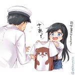 1boy 1girl admiral_(kantai_collection) asashio_(kantai_collection) bangs belt black_hair blue_eyes blush bokukawauso commentary_request ebifurya eyebrows_visible_through_hair flying_sweatdrops hair_between_eyes hat highres holding kantai_collection long_hair looking_at_another military military_uniform naval_uniform open_mouth otter peaked_cap shirt short_sleeves simple_background smile standing translation_request twitter_username uniform white_shirt