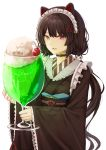 1girl absurdres animal_ears bangs black_collar black_hair blush bubble cherry collar dog_ears dog_girl dog_hair_ornament fangs flower food fruit furisode hair_flower hair_ornament heterochromia highres holding ibuki_(ibuki0118) ice_cream ice_cream_float inui_toko japanese_clothes kimono long_hair long_sleeves looking_at_viewer maid_headdress melon_soda nijisanji obi open_mouth oversized_food oversized_object red_eyes sash simple_background sketch smile solo twintails upper_body very_long_hair virtual_youtuber wa_maid white_background wide_sleeves yellow_eyes