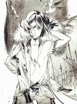 1boy alternate_costume androgynous bangs bird cape cloak fate/zero fate_(series) floating_hair fur_trim ionioi_hetairoi monochrome off_shoulder solo swept_bangs tunic v-neck waver_velvet wind xiling