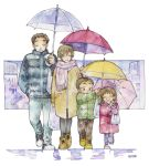 2boys 2girls :o ^_^ bag black_legwear blue_coat blue_pants blush braid brother_and_sister brown_hair carrying_over_shoulder child closed_eyes closed_mouth coat commentary_request crayon_(medium) facing_viewer family graphite_(medium) green_coat hand_in_pocket happy holding holding_umbrella husband_and_wife ina_(gonsora) lineup long_sleeves looking_at_another multiple_boys multiple_girls pants pantyhose pink_scarf plastic_bag rain red_coat scarf shared_umbrella shoe_soles shoes short_hair siblings smile sneakers toggles traditional_media twin_braids twintails umbrella walking white_background yellow_coat yellow_footwear