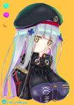1girl absurdres artist_name bangs beret black_headwear blunt_bangs blush breasts collar commentary_request cross dated eyebrows_visible_through_hair eyes_visible_through_hair facial_mark girls_frontline green_eyes hair_ornament hair_over_shoulder hat headwear highres hk416_(girls_frontline) inui_nakiru jacket large_breasts long_hair looking_at_viewer military_jacket parted_lips silver_hair simple_background solo teardrop upper_body yellow_background