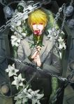 1boy absurdres bangs blonde_hair blood blurry candle candlelight candlestand catree chain closed_mouth coffin collared_shirt cowboy_shot depth_of_field earrings flower flower_to_mouth formal highres holding holding_flower hunter_x_hunter in_container jewelry kurapika lily_(flower) long_sleeves looking_at_viewer lying male_focus necktie on_back pants red_eyes red_flower red_rose ring rose shirt single_earring smoke solo suit thorns weapon white_flower white_rose yellow_neckwear yellow_shirt