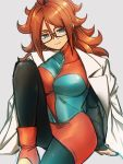 1girl android_21 arm_support black-framed_eyewear black_legwear blue_eyes breasts checkered checkered_dress closed_mouth dragon_ball dragon_ball_fighterz dress earrings glasses grey_background hair_between_eyes hoop_earrings jewelry kemachiku labcoat large_breasts long_hair looking_at_viewer pantyhose red_footwear redhead simple_background sitting smile solo