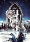 1girl ciri forest from_behind green_eyes hair_bun long_hair mountain nature official_art scar silver_hair snow snowing sword the_witcher unicorn weapon white_hair xiling