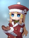 1girl :o alternate_color blonde_hair blue_eyes blush breath brown_sleeves coat fur-trimmed_coat fur-trimmed_hat fur-trimmed_sleeves fur_trim gunner hands_up highres jack_frost long_hair long_sleeves naga_u parted_lips red_coat red_headwear sekaiju_no_meikyuu sekaiju_no_meikyuu_2 snowing solo upper_body