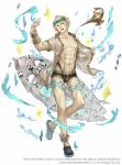 1boy :d aladdin_(sinoalice) anklet blonde_hair blue_eyes bracelet crocs eyewear_on_head full_body glasses highres jewelry ji_no looking_at_viewer muscle official_art oil_lamp open_mouth pixels ring see-through shirt sinoalice smile solo space_invaders square_enix surfboard swimsuit tattoo upper_body water wet white_background
