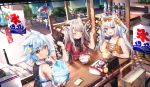3girls animal_ear_fluff animal_ears azur_lane bag blue_hair bottle bowl cat_ears closed_eyes day dress eating fubuki_(azur_lane) glint grey_hair handbag holding holding_bowl luggage mamemena manjuu_(azur_lane) multiple_girls orange_eyes outdoors outstretched_arm phone red_dress shaved_ice short_hair short_sleeves silver_hair sitting sleeveless sleeveless_dress table water_bottle wind_chime yukikaze_(azur_lane) yuudachi_(azur_lane)