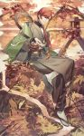 autumn brown_hair day food_fantasy green_eyes highres japanese_clothes jewelry kimono male_focus necklace official_art outdoors ponytail rezia sandals sitting socks teapot white_legwear